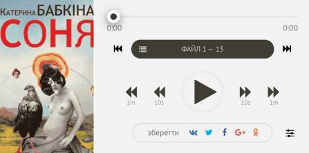 """Катерина Бабкина """"Соня"""" в первой онлайн-библиотека аудиокниг на украинском языке"""